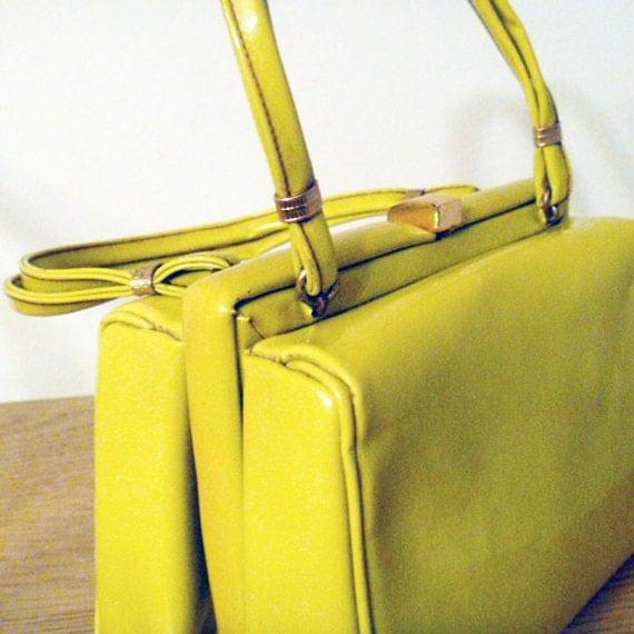 Vintage Patent Leather Box Purse Chartreuse ON SALE