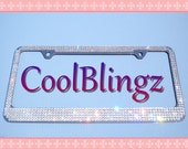 5 Row Diamond Rhinestone CRYSTAL License Plate Frame Bling made w/ Swarovski Elements