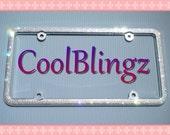 3 Row CRYSTAL Bling Diamond Rhinestone License Plate Frame made w/ Swarovski Elements