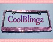 BABY PINK MEGA Bling Crystal Diamond Rhinestone License Plate (Black) Frame
