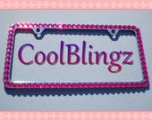 BIG HOT PINK Rhinestone Crystal Diamond Bling License Plate (2 Hole) Frame