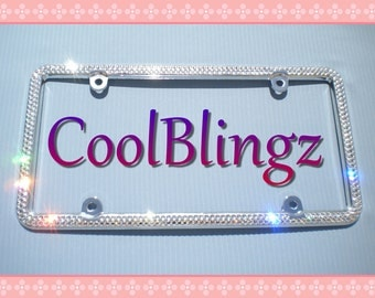 2 Row Diamond Rhinestone Sparkle CRYSTAL License Plate Frame Bling made w/ Swarovski Elements Crystals