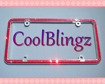 2 Row RED Diamond Rhinestone CRYSTAL Bling License Plate Frame Sparkle made w/ Swarovski Elements Crystals