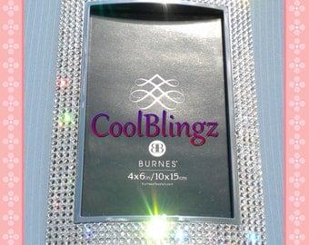"4 Row 4"" x 6"" CRYSTAL Rhinestone Diamond Bling Photo Picture Frame made w/ Swarovski Elements"