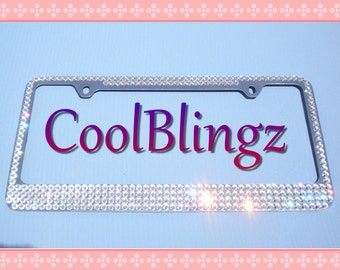 mega bling crystal diamond rhinestone license plate frame made w swarovski elements