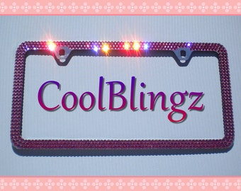 3 Row HOT PINK Crystal Bling Diamond Rhinestone License Plate (2 Hole) Frame made w/ Swarovski Elements