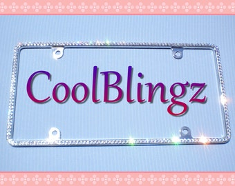Small Rhinestone Diamond Sparkle Crystal License Plate Frame Bling made w/ Swarovski Elements Crystals