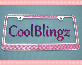 7 Row HOT PINK Crystal Bling Diamond Rhinestone License Plate Frame made w/ Swarovski Elements