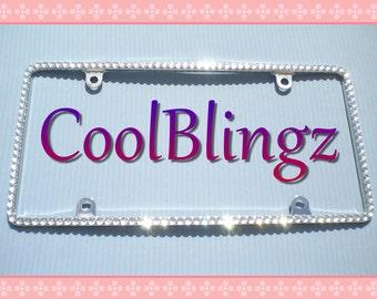 Thin Bling CRYSTAL Diamond Rhinestone License Plate Frame