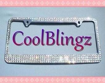 CRYSTAL AB MEGA Bling Diamond Rhinestone License Plate Frame