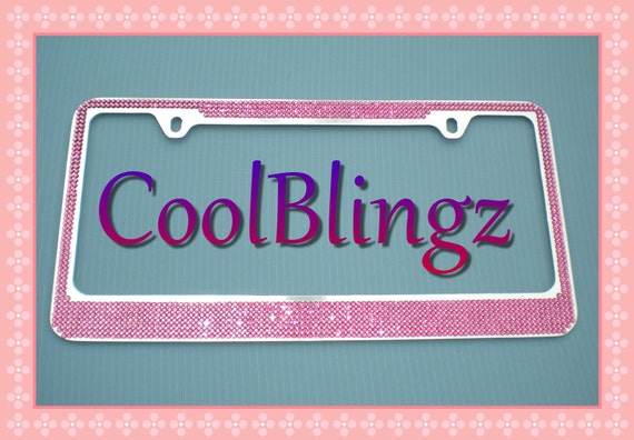 7 Row HOT PINK Crystal Bling Diamond Rhinestone License Plate Frame made w/ Swarovski Elements