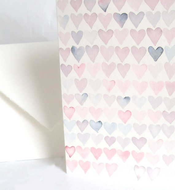 Handpainted Card - Pink Watercolor Hearts