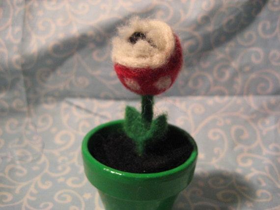 tiny needle felted piranha plant