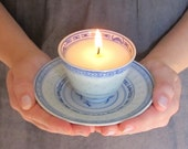 Cute Teacup Soy Candle with Matching Saucer - Blue and White Asian Pattern
