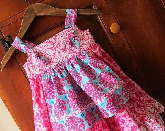 Knot Dress Apron 3T Toddler Ready To Ship Damask Sundress