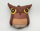 Felt Owl Ornament--Brown