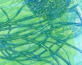 Blue Green original fine art hand pulled print - Only If I Must