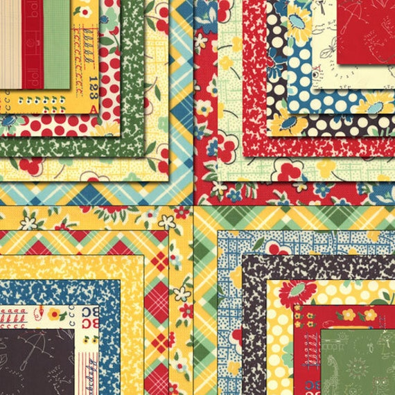"""Moda Charm Pack SCHOOL DAYS By American Jane 5"""" Quilt Fabric Squares"""
