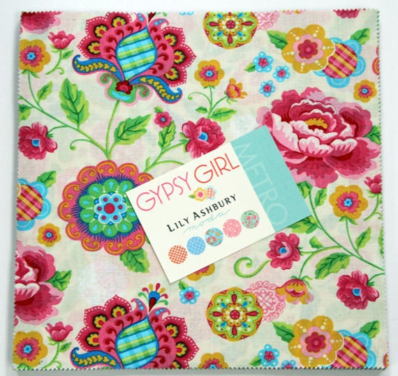 """Moda Layer Cake GYPSY GIRL By Lily Ashbury (42) 10"""" Quilt Fabric Square"""