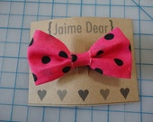 Hot Pink and Black Polka Dot Fabric Hair Bow Clip for Women, Teens, Girls