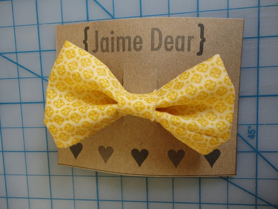 50's Mustard Yellow Hair Bow Accessory for Women, Teens, Girls