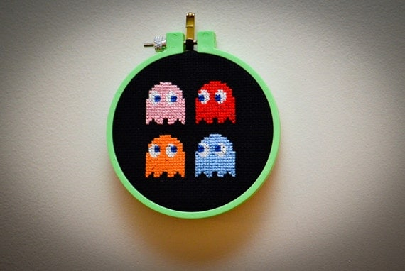 Inky, Blinky, Pinky and Clyde Completed Cross Stitch