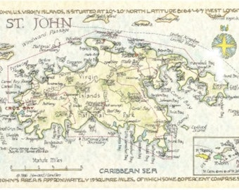 St. John, US Virgin Islands Map in Two Sizes