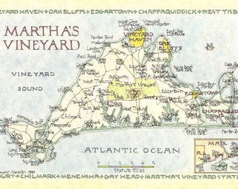 Martha's Vineyard Map - Two Sizes