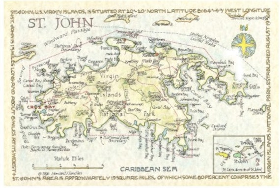 St John US Virgin Islands Map In Two Sizes - St john us virgin islands map