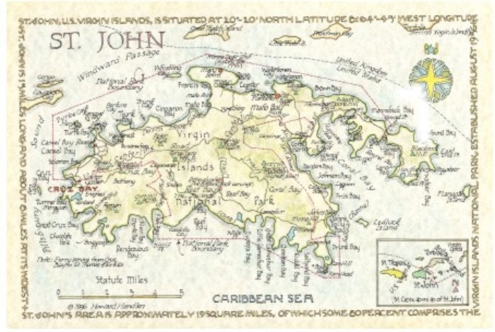 St John US Virgin Islands Map In Two Sizes - Map of st john us virgin islands