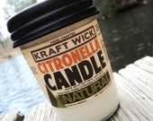 Citronella KraftWick Candle Soy Candle in Jelly Jar - Citronella Scent for Camping and Outdoors with Real Citronella Oil
