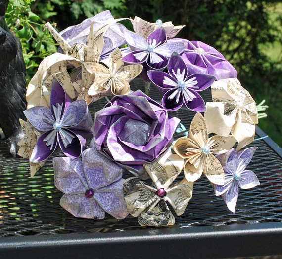Origami Bridal Bouquet made from Rescued Alice in Wonderland Book Pages - Deposit Only (non rufundable)
