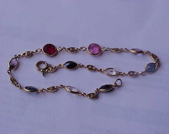 Estate 14k  Yellow Gold   Multy Stone Bracelet  , 2.8gr , 1950s