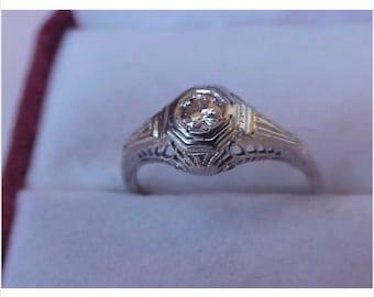 Antique Art Deco 18k WG Ring: .50ct Solitaire Diamond Ring