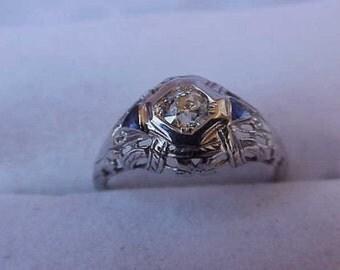 Antique Unique 18K WG Filigree  Ring: .61ct Old European Cut  Diamond & Sapphires,ART DECO,1930s