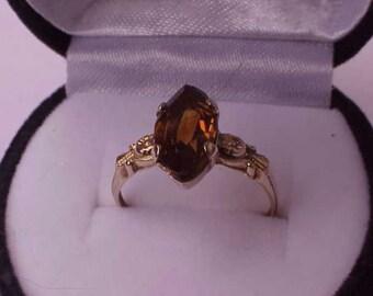 Antique Unique  Victorian 14K  Gold Citrine  Ring, late 1800s