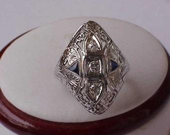 Antique Unique 18K WG Filigree  Ring: .50ct Old European Cut  Diamond & Sapphires,ART DECO,1930s