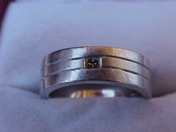 Estate Art Deco 14K WG  Diamond  Wedding Ring Band, Heavy 10gr, 1950's