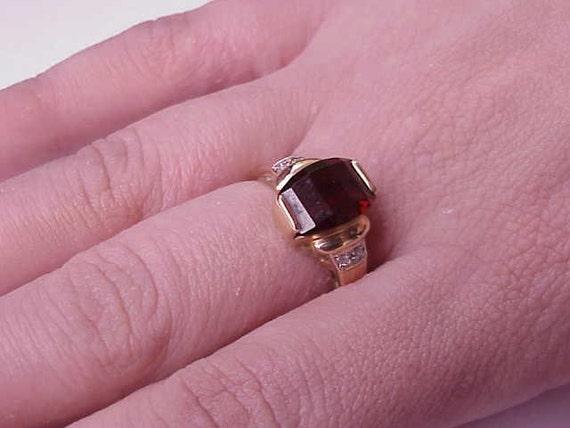 Estate Vintage  Deco 14k Yellow Gold  Garnet Diamonds Ring ,1950's