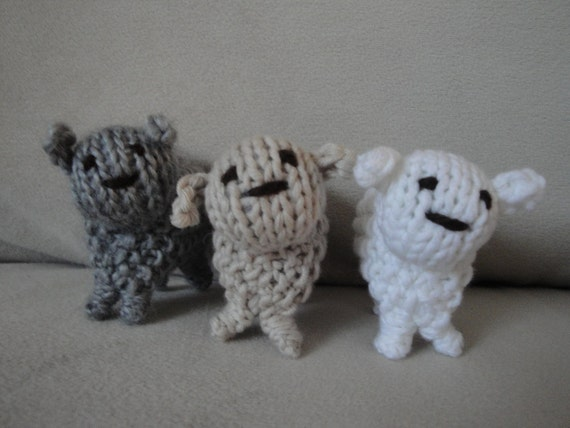 OOAK Hand Knit Mini Sheep Set of 3 Small Lambs Unique Minature Soft Wool Waldorf Toys or Display Sweet Adorable Cute Children