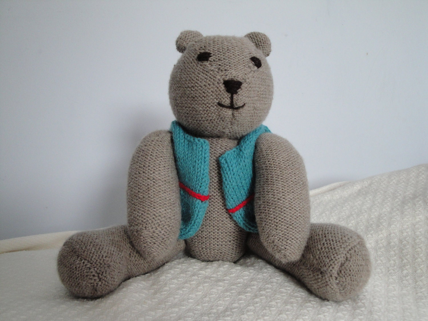 Hand Knit Teddy Bear With Vest Childs Toy Huggable By