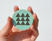 turquoise wood & brass triangle circle brooch