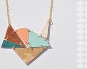triangle array necklace on gold chain