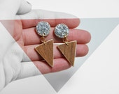 triangle and circle earrings: silver glitter