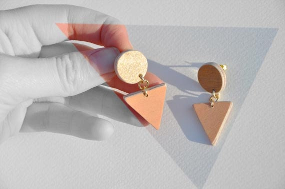 triangle and circle earrings: peach & gold