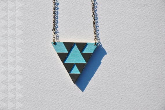 turquoise brass & wood triangle pattern necklace