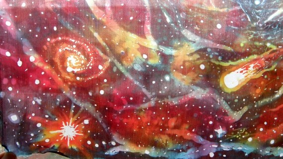 Infinite Fractal Spiral Silk Batik Tapestry Outer Space
