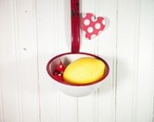 Vintage Enamelware Ladle Red And White Retro Kitchen 1950s