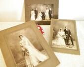 3 Antique Wedding Photos Bride, Bride And Groom, Wedding Party