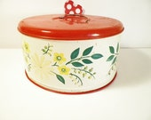 Cake Tin  Red Flowers 1950s Kitchen Retro Top Only